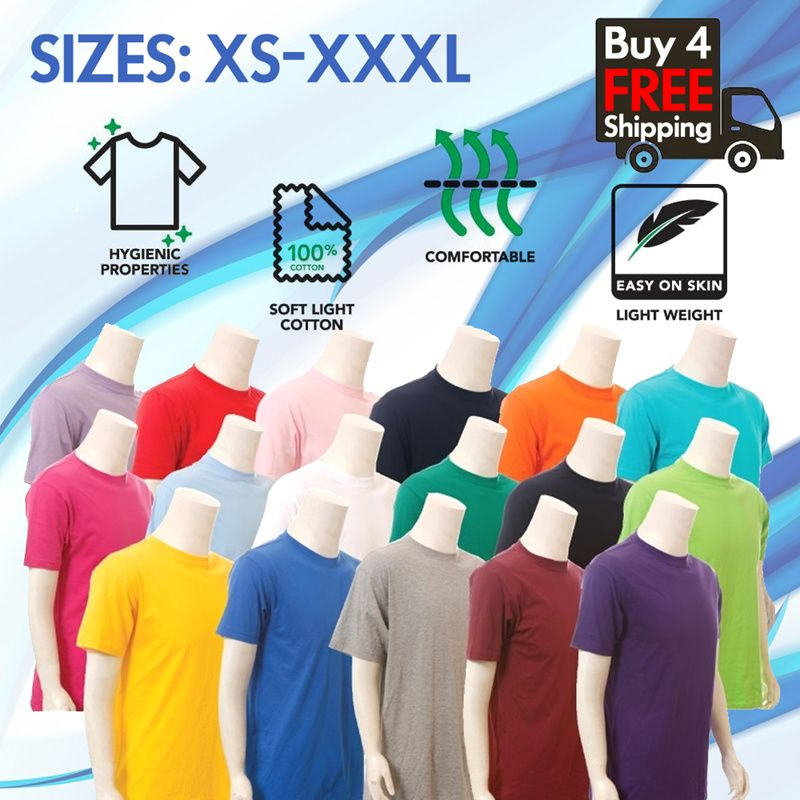 [Best Seller] Free Shipping | Cotton Unisex T-shirt / Short Sleeve / Round Neck T-shirt / Multi-Colors / Best Quality / Local Seller Deals for only S$3.98 instead of S$7.14