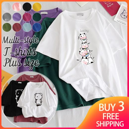 Buy 3 Free Shipping Womens Multi-style T-shirts Ladies Fashion Cute Cartoon Loose Top Tee Deals for only S$4.5 instead of S$25.9
