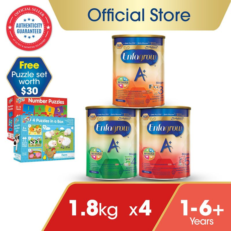 [Bundle of 4] Enfagrow A+ Baby Milk Powder Stage 3/4/5 Deals for only S$240.8 instead of S$422.2