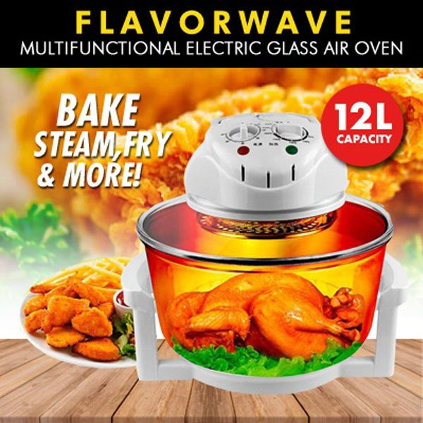 FLAVORWAVE Multifunctional Electric Glass Waves Air Oven/Air Fryer 12L**French Technology Deals for only S$49.9 instead of S$199