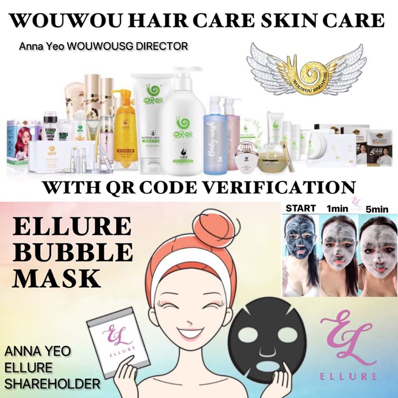 FREE GIFT! WOUWOU GINGER SHAMPOO / ELLURE CLEANSING TOMATO BUBBLE MASKS WOWO FULL RANGE Deals for only S$25 instead of S$38