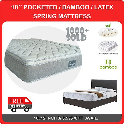 10 Inch Pocketed/ Bamboo Latex Spring Mattress / Add on Bedframe | 4 SIZES Deals for only S$188 instead of S$498