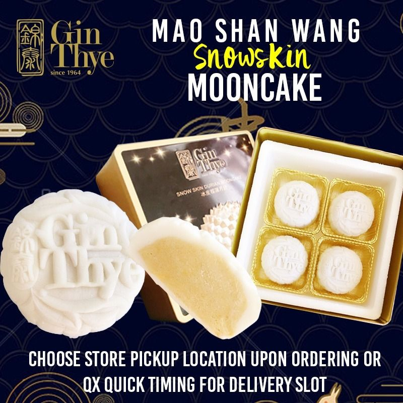 [Gin Thye x Qoo10] Premium Mao Shan Wang Durian White Snow Skin Mooncake 4 pieces Deals for only S$39.9 instead of S$88