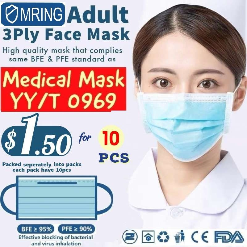 Mr.Ing Disposable Adult Face Mask complies Medical grade Masks standard with CE + FDA