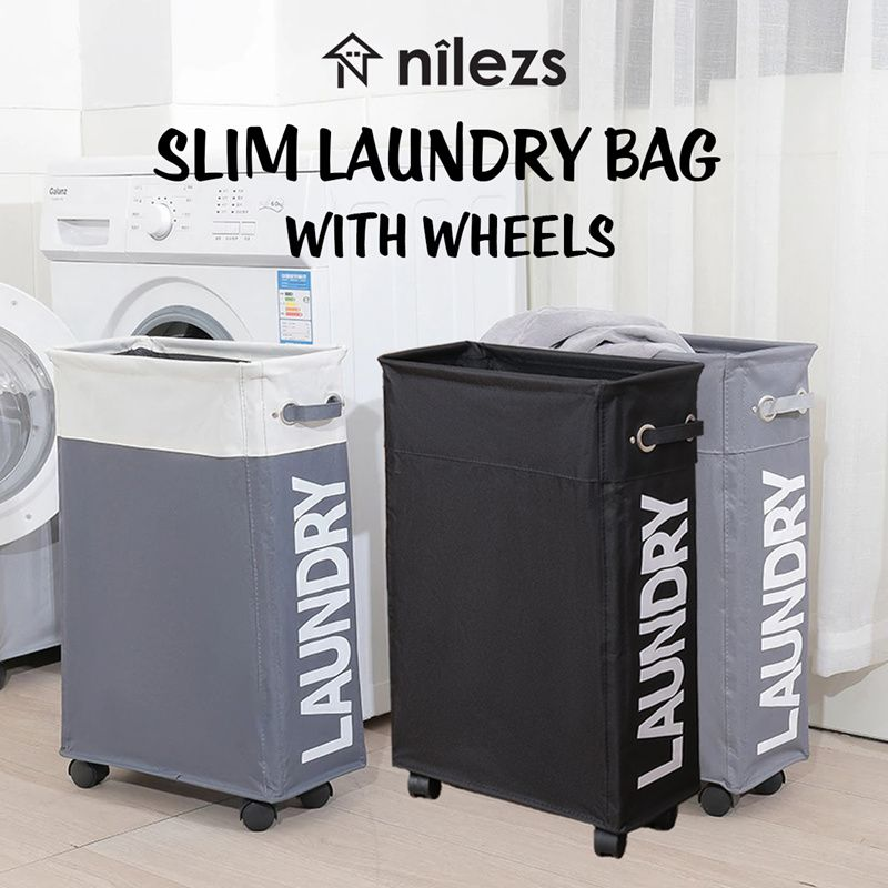 Slim Laundry Basket/Laundry Rack/Organizer/Laundry Bag with wheels/Bathroom/Kitchen/Service Yard Deals for only S$21.9 instead of S$39.9
