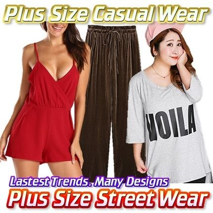 Plus Size Fashion Rompers RompersOversize T-ShirtSkirtSweaterPantsBlazerXXL-5XLExprs Dely Deals for only S$14.9 instead of S$29.9
