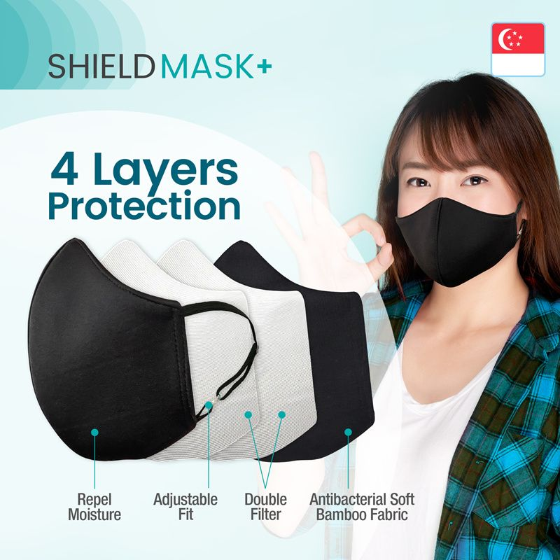 SHIELDMASK+ MADE IN SINGAPORE Reusable Face Mask for Adults and Kids/ 4 Layers Protection Adjustable Deals for only S$17.1 instead of S$25
