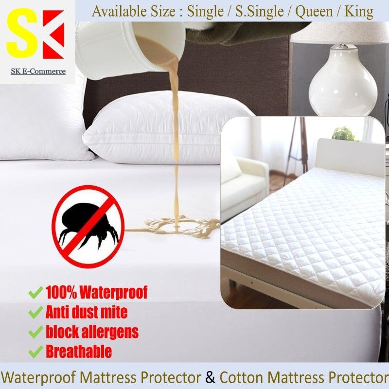 Waterproof Mattress Protector | Cotton Mattress Protector | Waterproof Bedsheet-Fitted Sheet Deals for only S$7.84 instead of S$35.86