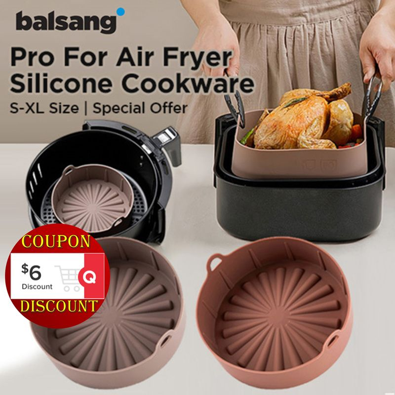 Balsang Air Fryer Silicone Pot-Reusable Air Fryer Liner Tidak Lebih Kasar Membersihkan Air Fryer Basket Deals for only Rp126600 instead of Rp650430