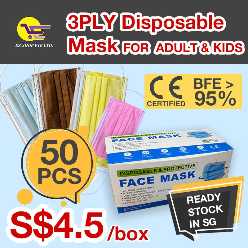 $4.5 WAREHOUSE CLEARANCE!!3 ply disposable face mask/coloured face mask/adult face mask/kids mask Deals for only $6.54 instead of $0