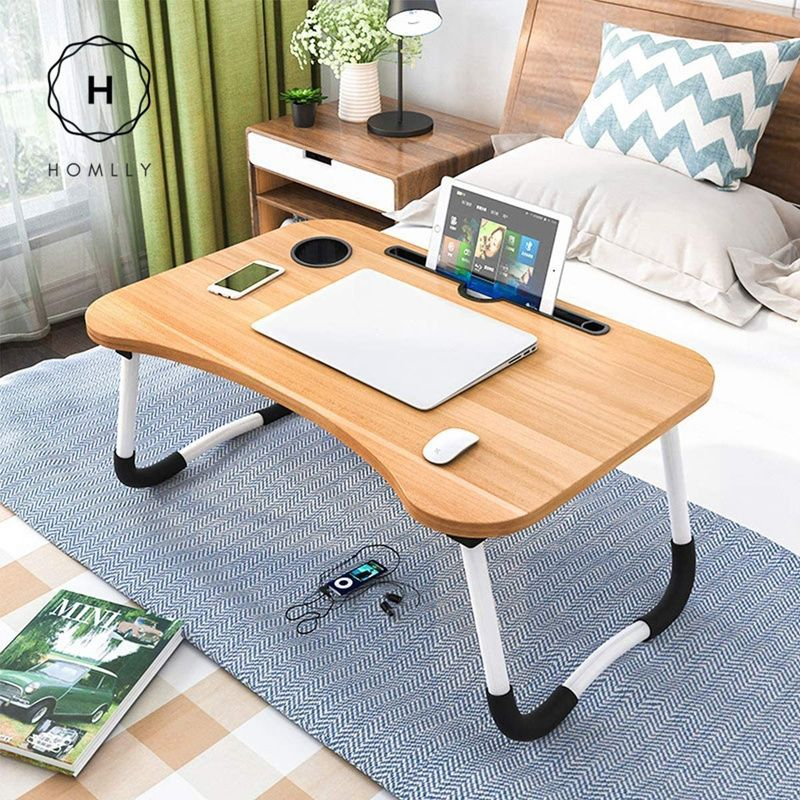 Homlly Breakfast Foldable Laptop Table Tablet and cup slot Deals for only $24.76 instead of $29.99
