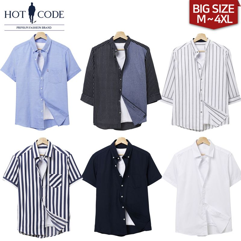 [HOTCODE] 28 Type Mens short sleeve / shirts / big size / dress / check / stripe / Hawaiian / linen Deals for only $16 instead of $35