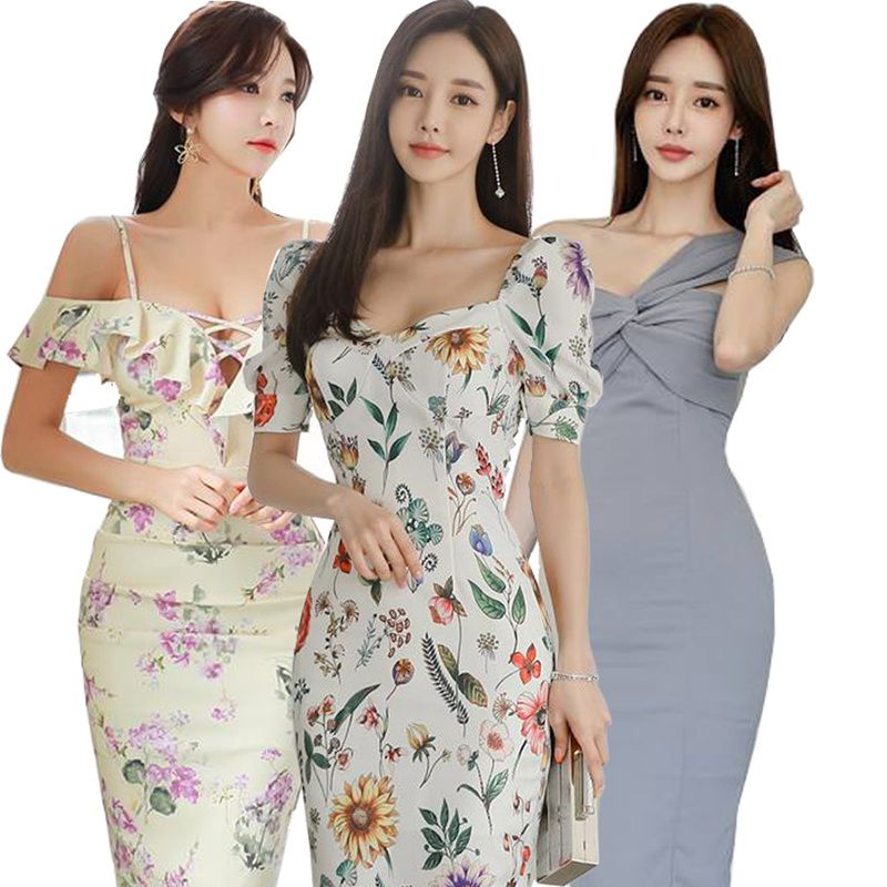 Korean Slim Sexy skirt/evening dress/Banquet dress/Cocktail dress/High-end/Wrap dress/Pack hip dress Deals for only $10.16 instead of $21.64